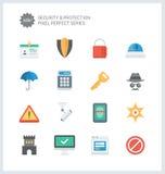 Perfekt säkerhet för PIXEL och plana symboler för skydd Royaltyfri Fotografi