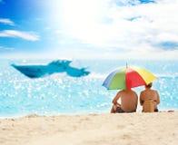 perfekt sommar för stranddag Arkivbilder