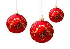 Perfekta julbollar som isoleras på vit Royaltyfri Bild