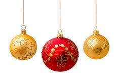 Perfekta julbollar som isoleras på vit Arkivbild