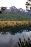 Perfekta reflexioner på spegel sjön royaltyfri bild