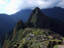 Perfekte Ansicht der ganzen mythischen Inkastadt, Machu Picchu Lizenzfreie Stockbilder