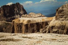 Perfekte Ansicht vom Sass Pordoi in Dolomiti, Nationalpark UNESCO stockfotografie