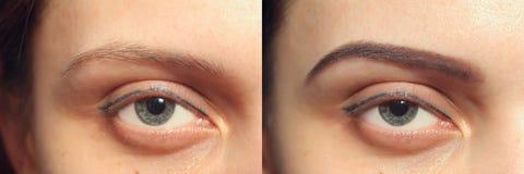 Perfekte Augenbrauen vorher nach, zwei Augen Stockbilder