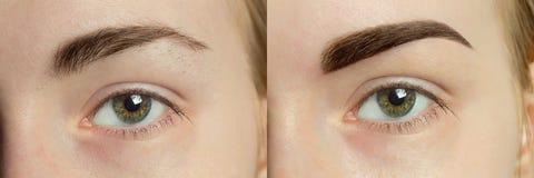 Perfekte Augenbrauen vorher nachher stockfotos