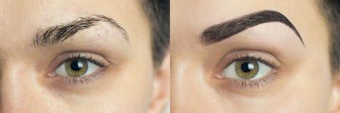 Perfekte Augenbrauen vorher nachher Lizenzfreies Stockbild