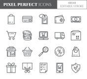 Perfekte dünne Linie Ikonen des Einkaufsthema-Pixels Satz Elemente der Tasche, Kreditkarte, Shop, Lieferung, Bargeld, Geldbörse,  Lizenzfreie Stockfotos
