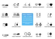 Perfekte dünne Linie Ikonen und Symbole des Pixels von verschiedenen Industrien/von Geschäftssektoren mögen öffentlichen Dienst,  stock abbildung