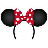 Perfekte Mäuseohren mit rotem Bogen Stirnband für Geburtstagsfeier oder Feier Lizenzfreies Stockfoto