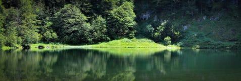 Perfekte Reflexion auf dem Teich von Guzet Stockbild