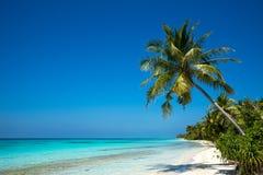Perfekter Tropeninselparadiesstrand und altes Boot Stockbild