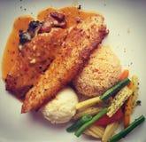 Perfektes Fisch-Steak! YUM Lizenzfreies Stockbild