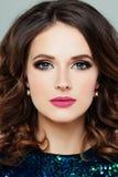 Perfektes weibliches Gesicht Frauen-Modell mit Make-up Lizenzfreies Stockbild