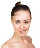 Perfektes weibliches Gesicht gemacht von den verschiedenen Gesichtern Lizenzfreies Stockfoto