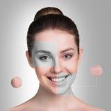 Perfektes weibliches Gesicht gemacht von den verschiedenen Gesichtern Stockbilder