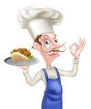 Perfektes Zeichen Karikatur-Chef-Holding Kebab Givings Stockfoto