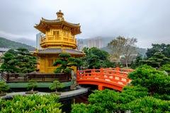 Perfektion för arkitektur för pagodstil kinesisk i Nan Lian Garden, Royaltyfria Bilder
