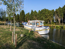 Perfettamente scenico su Canal du Midi in Aude, Linguadoca-Rossiglione Fotografia Stock Libera da Diritti