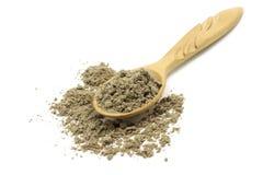 Perfezionamento di grano del cardamomo in cucchiaio di legno fotografie stock libere da diritti