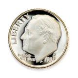 Perfezioni la moneta da dieci centesimi di dollaro uncirculated Immagini Stock