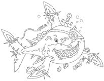 Shark Pirate attacking royalty free illustration