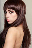 Perfil bonito da cara da mulher Fotografia de Stock