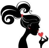 Perfil bonito da silhueta da mulher Fotos de Stock Royalty Free