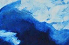Perfil branco da silhueta na lona, pintada com pintura azul Imagens de Stock Royalty Free