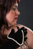 Perfil con las perlas Foto de archivo libre de regalías