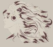 Perfil da mulher bonita do nativo americano com fe Fotos de Stock Royalty Free