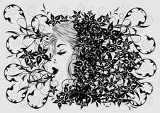 Perfil da mulher no fundo floral Imagens de Stock Royalty Free