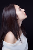 Perfil da mulher sensual nova bonita fotos de stock royalty free