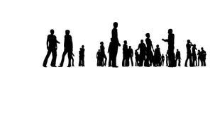 Perfil da silhueta Equipe do negócio Multidão dos povos Serviço da finança Fundo claro ilustração stock