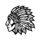 Perfil de la cabeza del jefe indio del nativo americano Logotipo del equipo de deporte de la mascota Ilustración del vector imagen de archivo libre de regalías