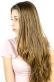 Perfil de la muchacha con el pelo rubio muy largo Fotografía de archivo libre de regalías