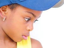 Perfil de la muchacha en sombrero azul Fotos de archivo libres de regalías