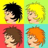 Perfil de la mujer cómica del estilo ilustración del vector