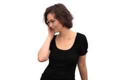 Perfil de la mujer hermosa con el teléfono móvil Fotos de archivo libres de regalías
