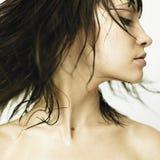 Perfil de la mujer joven con el pelo que se convierte Foto de archivo libre de regalías