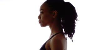 Perfil de la mujer negra fuerte Imágenes de archivo libres de regalías