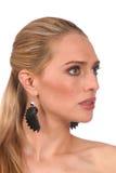 Perfil de la mujer rubia hermosa con los ojos grises - portra Foto de archivo libre de regalías
