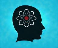 Perfil de la silueta con símbolo del átomo Imagen de archivo