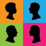 Perfil de quatro silhuetas da cabeça humana Fotos de Stock