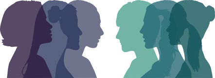 Perfil de seis diversas mujeres, vector fotos de archivo