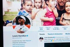 Perfil de Twitter de Lewis Hamilton a partir de octubre de 2018 foto de archivo libre de regalías
