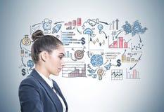 Perfil de uma mulher de negócios calma, análise Foto de Stock