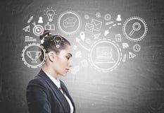 Perfil de uma mulher de negócios calma, estratégia Imagens de Stock Royalty Free