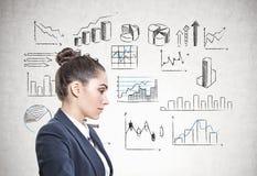 Perfil de uma mulher de negócios calma, infographics Imagens de Stock Royalty Free