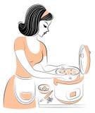 Perfil de uma senhora bonita A menina est? preparando um alimento para o multi-fog?o Uma mulher ? uma boa dona de casa e um cozin ilustração royalty free