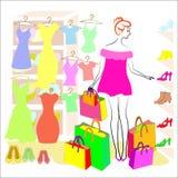 Perfil de uma senhora doce A menina é contratada na compra Na loja compra a roupa e as sapatas, vestidos, t-shirt, botas das sapa ilustração royalty free